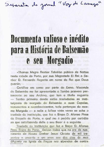 Bispo D. Afonso Pires Pinto e o morgado de Balsemão