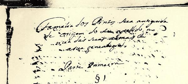 Manuscrito genealógico (1743) sobre a família Pinto