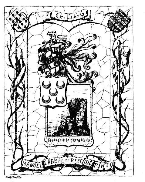 Ex-libris com as armas dos Pinto, evocando a destruida Torre de Chã
