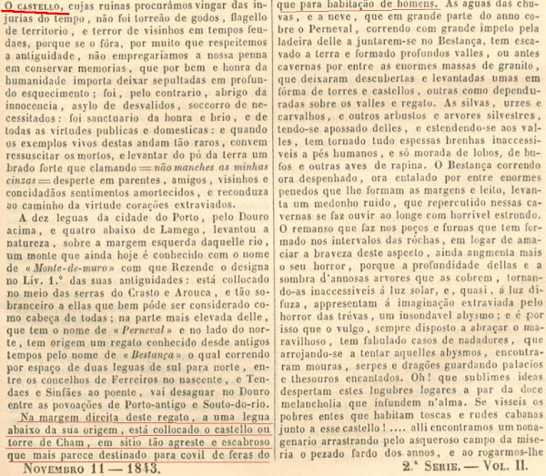 Noticia sobre a Torre de Chã, rev. Panorama, 1843