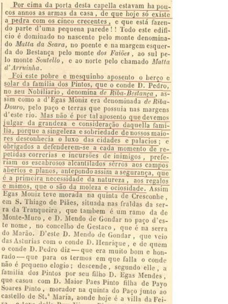 Descrição da Torre de Chã e das armas dos Pinto