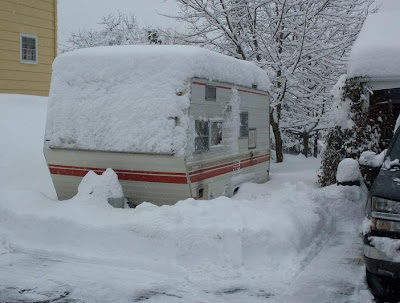 snowstorm buried our camping trailer