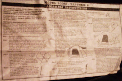 actual instructions to Jim's Columbia tent
