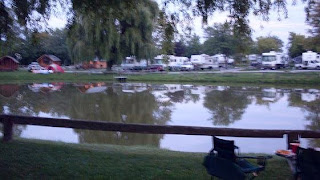 early evening at KOA campground by the pond