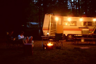 nightfall, roaring fire, August camping in Springwater