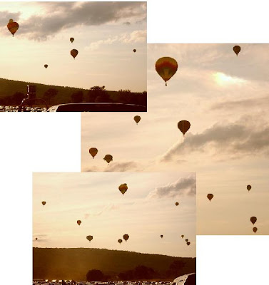 hot air balloons fill the sky northwest of Dansville NY