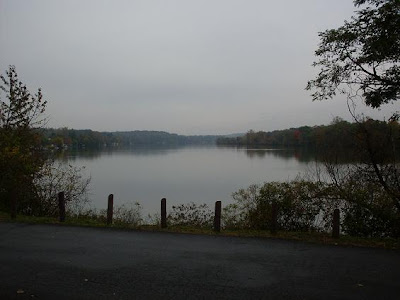 gloomy fall foliage at widewaters of Erie Canal near Newark, NY