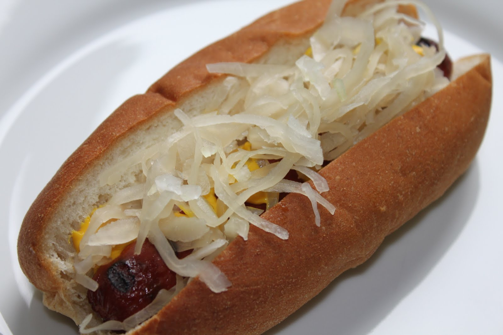 Grilled hot dog with mustard and sauerkraut (2 favorited this hot dog ...