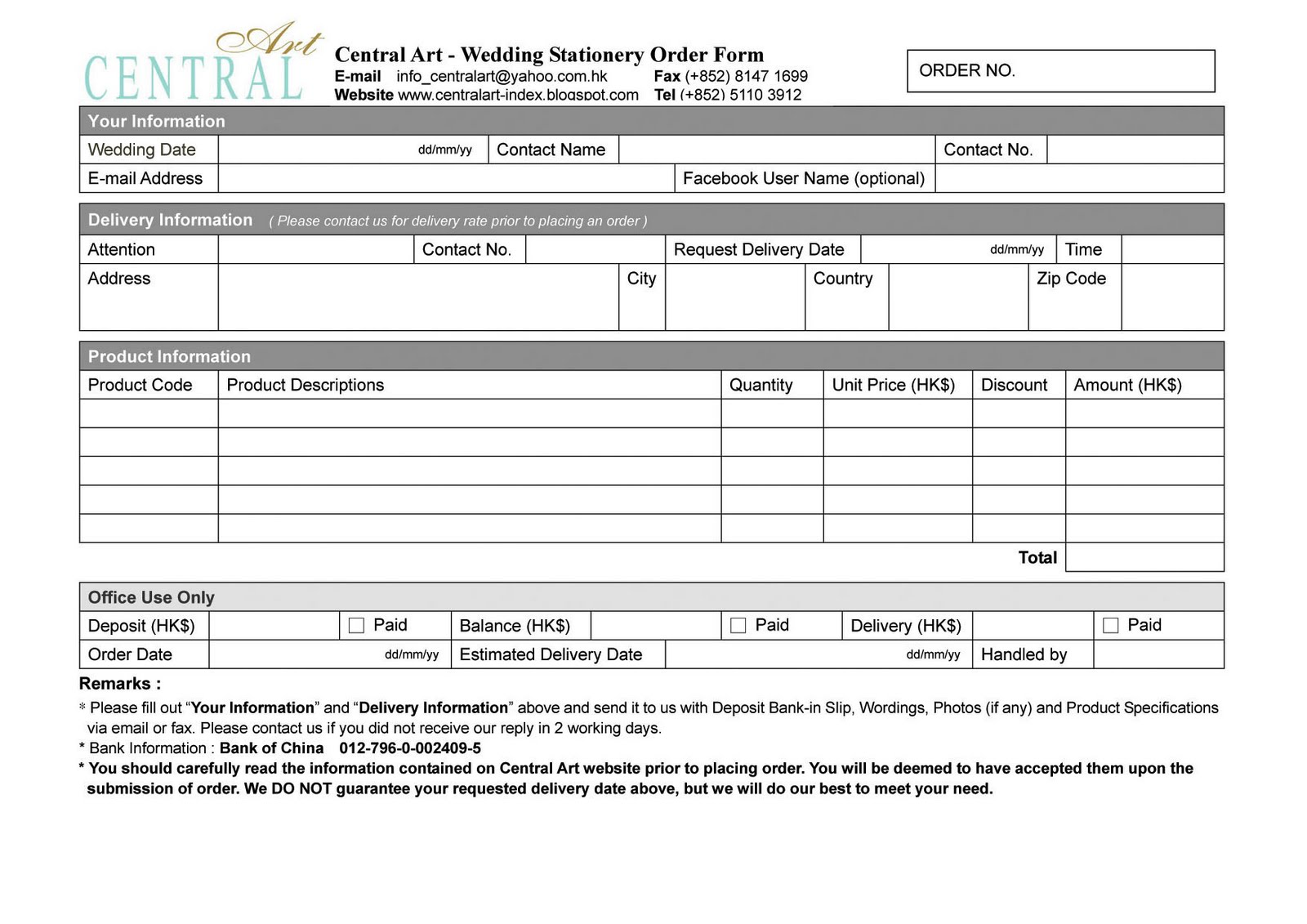 monogram order form template