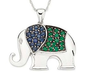 Daily cheapskate 14kt gold and gemstone elephant pendant and chain get this very cute 14kt white gold sapphire emerald and diamond elephant pendant with 18 chain at ice for the price of a silver necklace aloadofball Choice Image