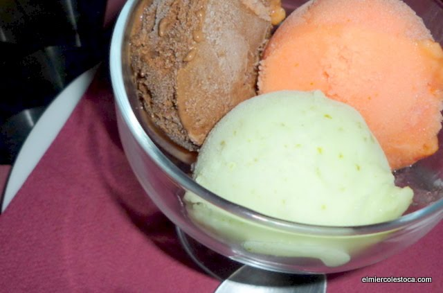 Manzana del Jalón caramelizada y sorbete helado
