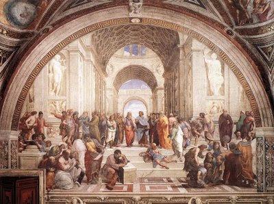 Raffaello: La Scuola di Atene - clicca per ingrandire, e trova Socrate!