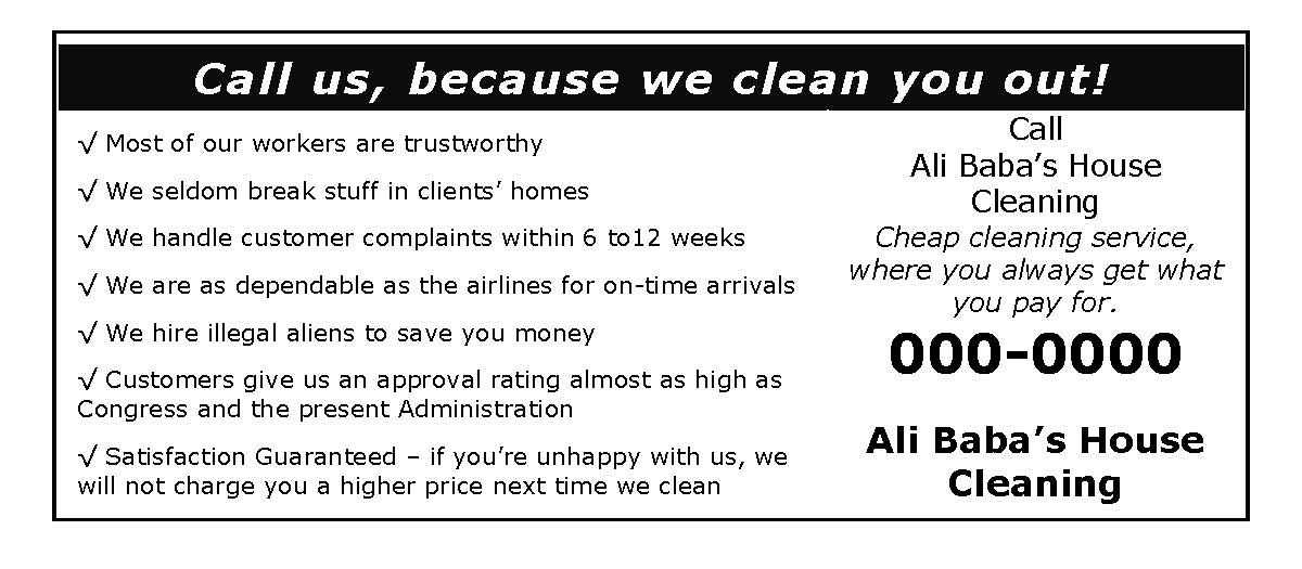 Free House Cleaning Service Advertising