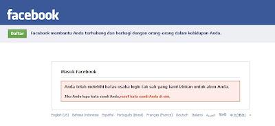 akun facebook di bekukan