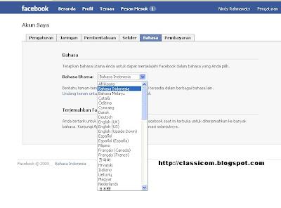 cara menggati bahasa utama facebook