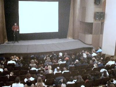 the projection of the movie Jesus, Pisek, The Frana Sramek Theatre, 2003