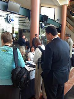 Checking in at DNC Convention Media Walkthrough