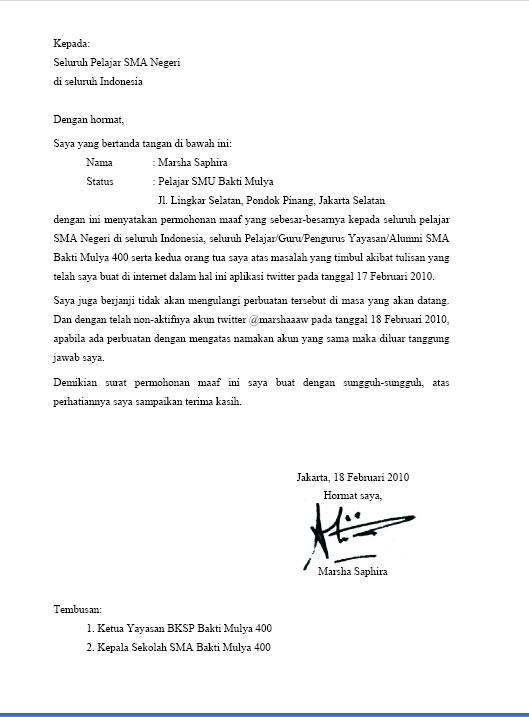 Surat Permohonan Maaf Marsha Sapira Twitter