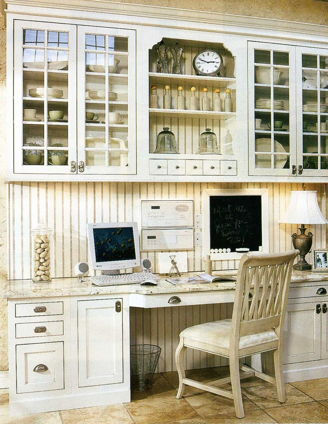 white glazed built-ins kitchen office