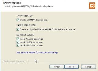 install service XAMPP apache, mysql, filezilla