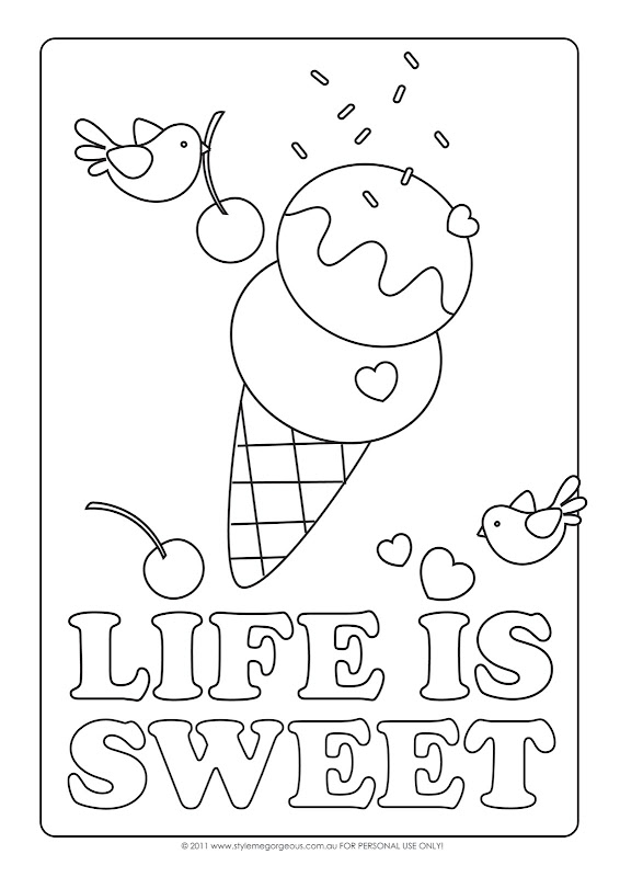 Life Is Sweet - Free Coloring Page title=