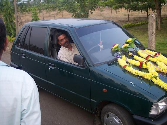 Lt Col C Ravindra Reddy in his car