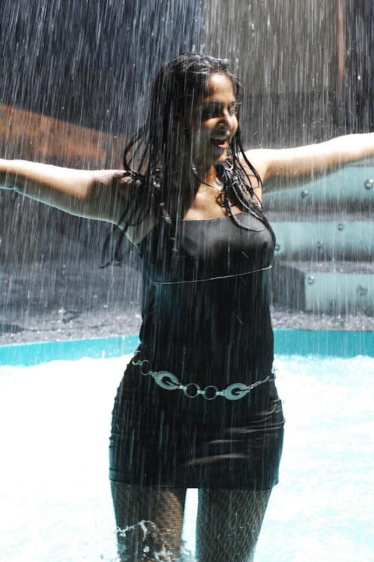 Anushka Shetty in Rain in a Short Black Skirt,  Western Wear Online