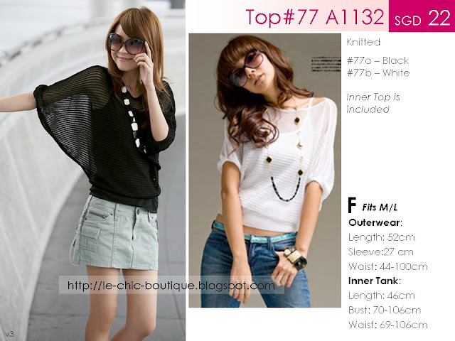 Top#77 A1132 Two-Piece Knitted Bat Sleeved Top