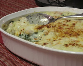 An oh-so-easy casserole, just spinach, leftover turkey and a cheesy sauce
