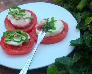 A classic: tomato with fresh mozzarella, balsamic vinegar and basil