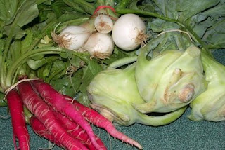 Radishes and spring onions from the farmers market (that's kohlrabi on the right for another night this week)