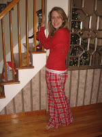 Before: striped paper, busy mirror, varnished oak trim (and daughter in her new Christmas PJs)