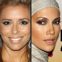 Eva longoria-Parker and Jennifer Lopez in false eyelashes