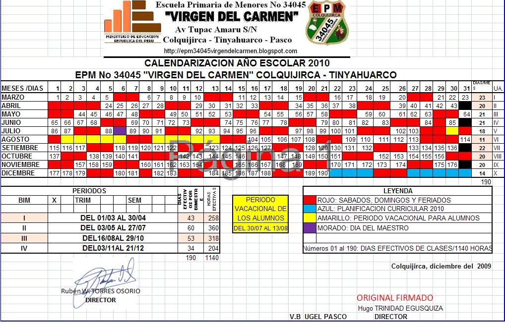 CALENDARIZACION 2010