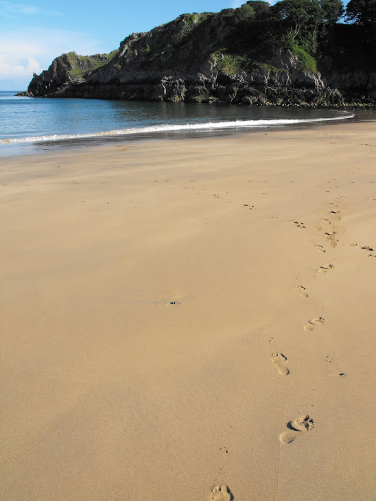 Footprints at Barafundle Beach