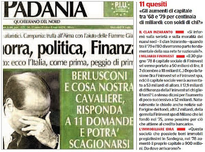 """La prima pagina de """"La Padania"""" del 8 luglio 1998 (questi articolo sono stati rimossi inspiegabilmente dal web)."""