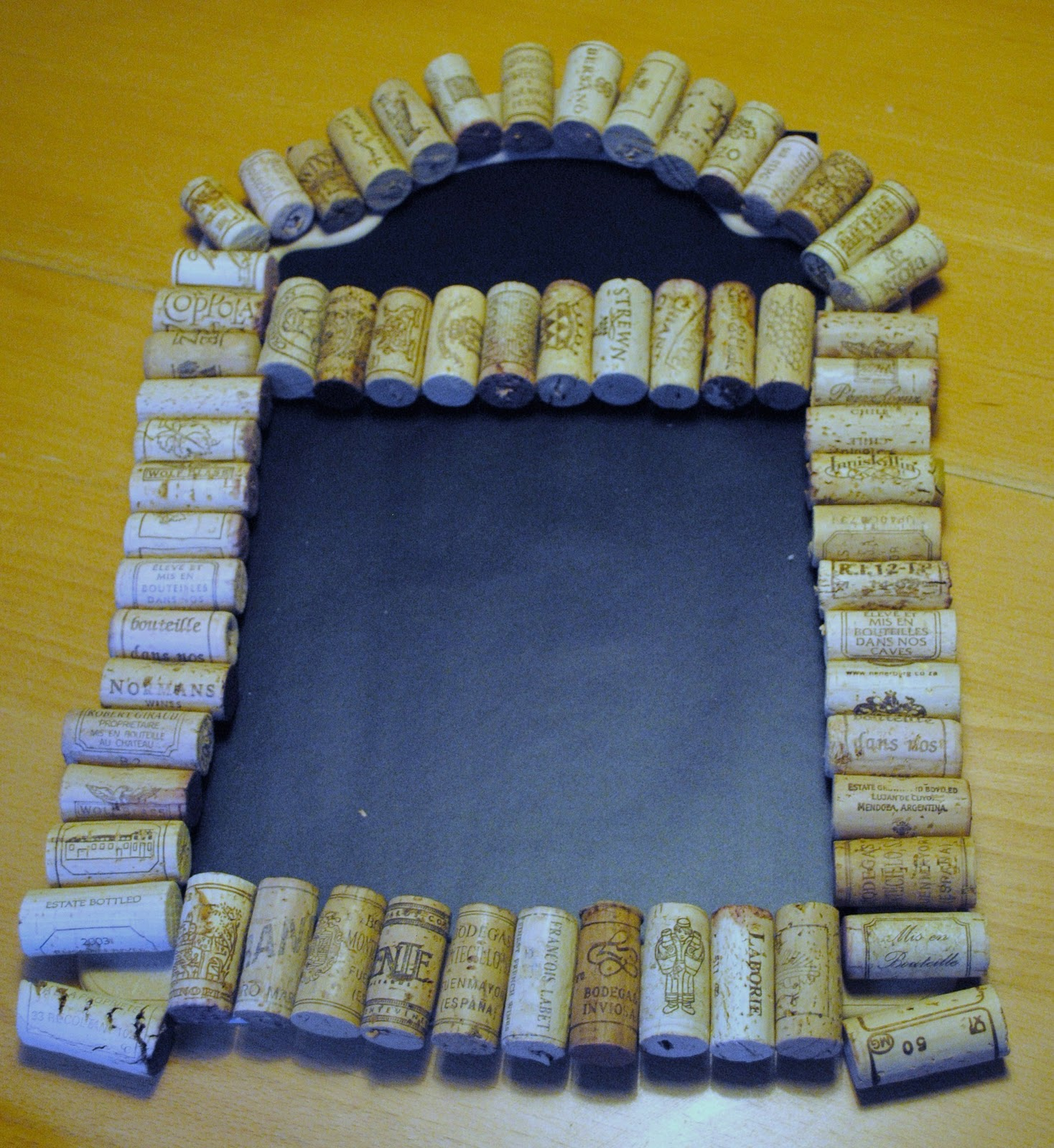 Recycled wine cork menu board beatnik kids for Cork board crafts