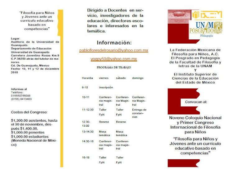 Primer Coloquio Nacional y Noveno Congreso Internacional de Filosofía para niños