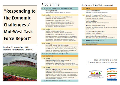 "PROGRAMME – ""Responding to the Economic Challenges / Mid-West Task Force Report"", Thomond Park, Limerick"