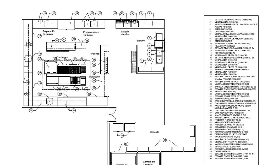Dise o restaurantes 2009 plano cocina industrial for Medidas de cocina industrial