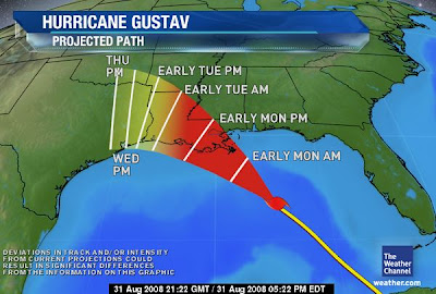 hurricane Gustav projected path