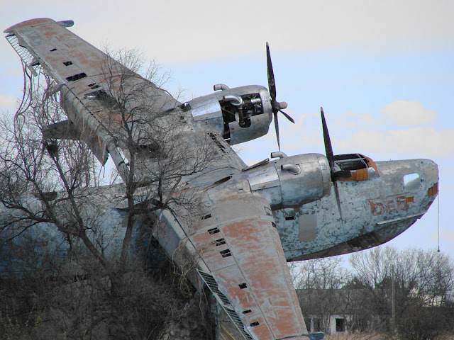 A Deeply Damaged Abandoned Plane Monument In Ukraine