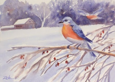 Bluebirds in the Snow watercolor