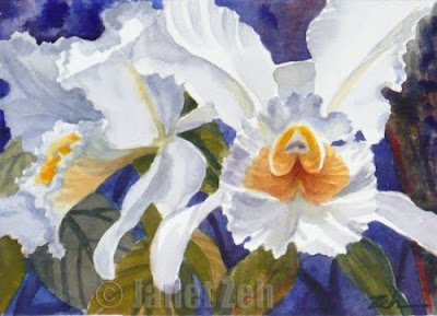 White Orchids watercolor painting