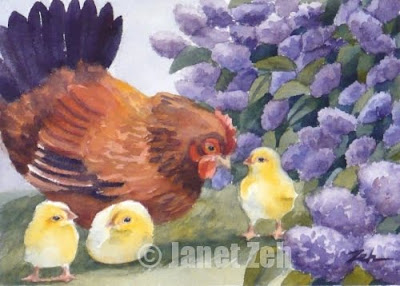 Hen and Chicks watercolor painting