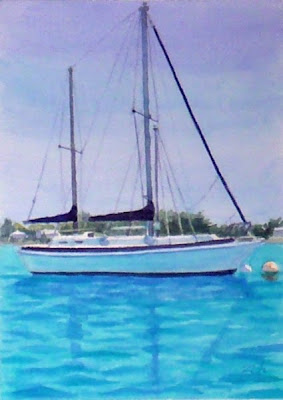 Bermuda Sailboat watercolor by Janet Zeh