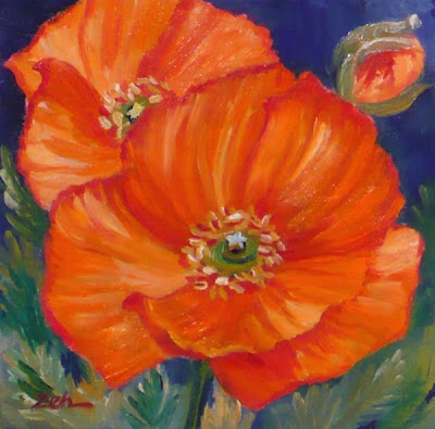 Orange Poppies oil painting by Janet Zeh