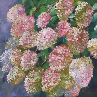 PeeGee hydrangea oil painting by artist Janet Zeh