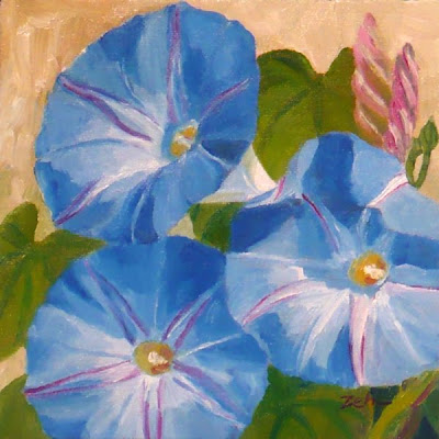Morning Glories Flowers oil painting by Janet Zeh