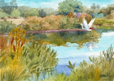 Great Egret Heron painting by Janet Zeh